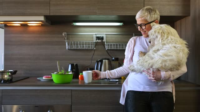 mature woman holding dog at home - mature women stock videos & royalty-free footage