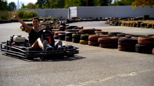 mature woman on go-cart race - go cart stock videos & royalty-free footage