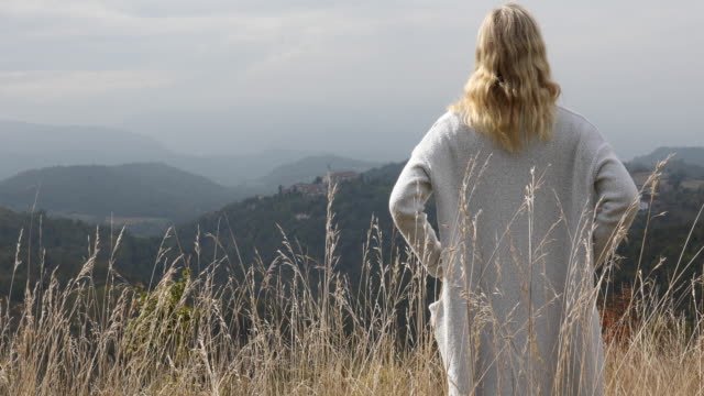 mature woman relaxes in grassy mountain meadow - long hair stock videos & royalty-free footage