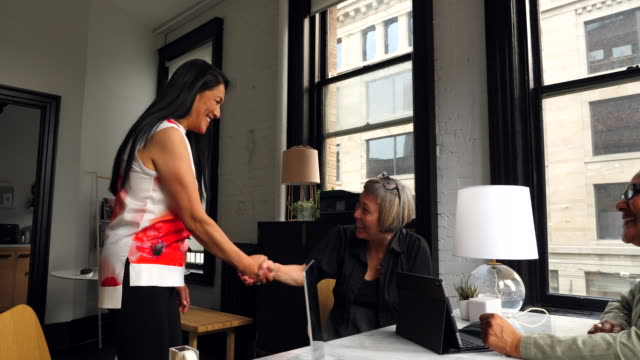 ms mature woman shaking hands with female business owners before interview - day stock videos & royalty-free footage