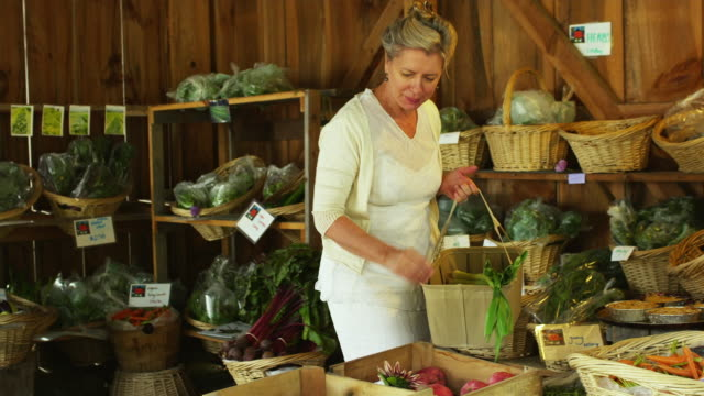 MS PAN Mature woman shopping at local farm stand / Dorset, Vermont, USA
