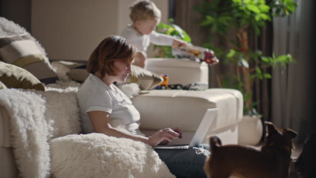 vídeos y material grabado en eventos de stock de mature woman with laptop relaxing in living room - cabello castaño