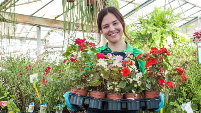 Mature woman working in plant nursery