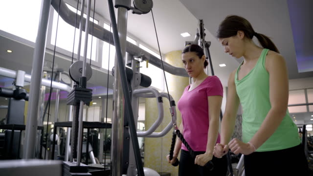 mature women have a workout for triceps muscle in the gym - durevolezza video stock e b–roll