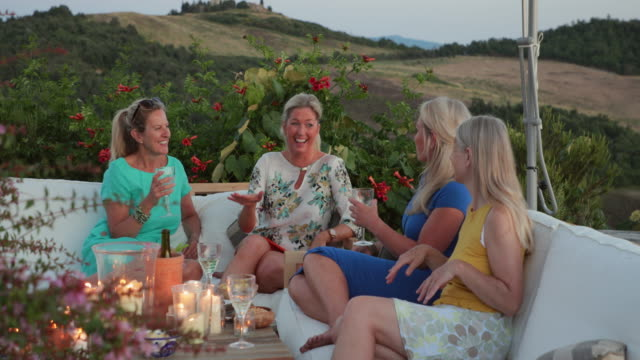 mature women relaxing with drinks - ladies' night stock videos and b-roll footage