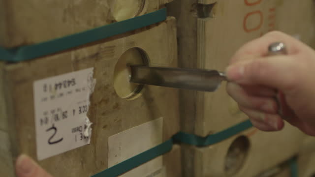 maturing cheddar cheese is tested for consistency, uk. - チーズ点の映像素材/bロール