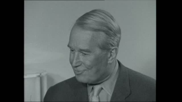 stockvideo's en b-roll-footage met maurice chevalier interview:; england: london: the savoy hotel: int maurice chevalier interview sof: - on starting new career smoking and drinking - new not politics
