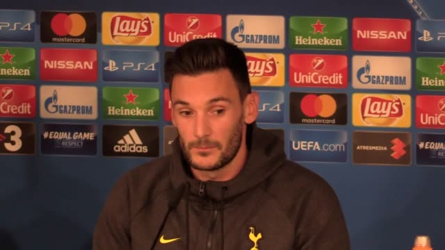 mauricio pochettino and goalkeeper hugo lloris preview real madrid v tottenham in the champions league - hugo lloris stock videos and b-roll footage