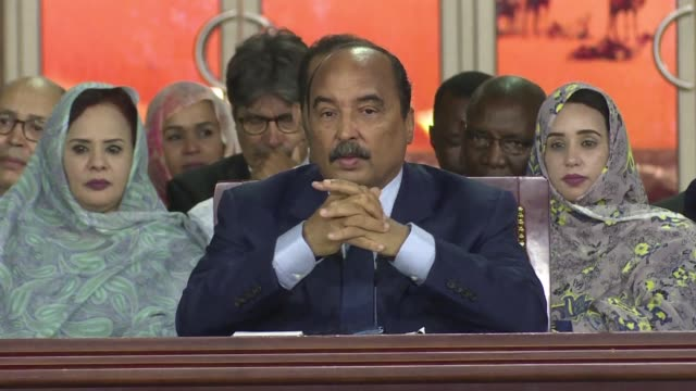 mauritanian incumbent president mohamed ould abdel aziz takes stock of his decade in power during a meeting with journalists in nouakchott a few days... - nouakchott stock videos & royalty-free footage