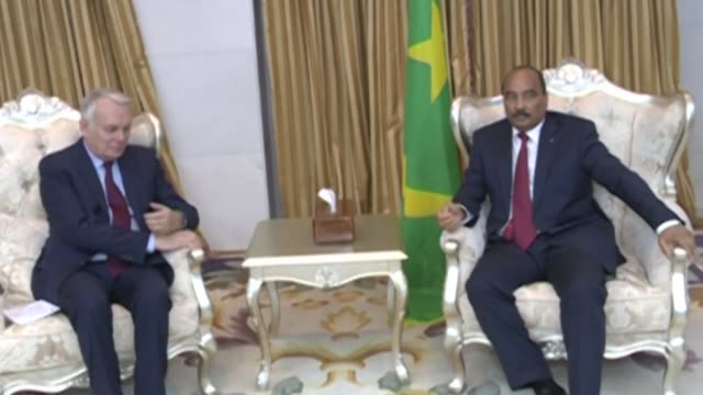 mauritanian president mohamed abdel aziz meets french minister of foreign affairs jean marc ayrault who commends the country on its actions to ensure... - nouakchott stock videos & royalty-free footage