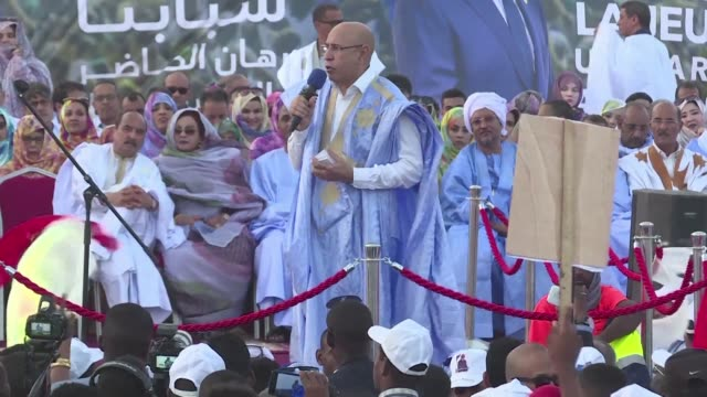 mauritanian presidential candidate mohamed ould ghazouani holds his last campaign rally in the capital nouakchott - nouakchott stock videos & royalty-free footage