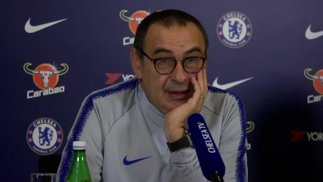 maurizio sarri wants eden hazard to be free for chelsea the belgian 27yearold player is set to feature as the blues' 'false nine' in the team's... - press room stock videos & royalty-free footage