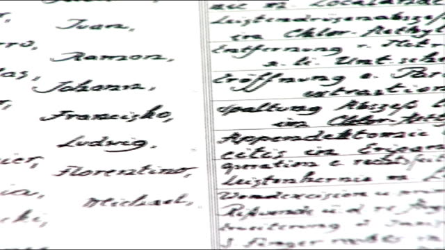 int mauthausen memorial archives including ledger of records kept by heim dr gregor holzinger interview sot - concentration camp stock videos and b-roll footage