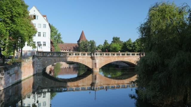max bridge on river pegnitz, nuremberg, bavaria, germany - nuremberg stock videos & royalty-free footage