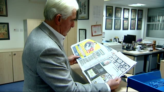 max clifford questioned by police on sexual assault allegations; file: november 2012: england: london: int set-up shot of max clifford looking... - suspicion stock videos & royalty-free footage