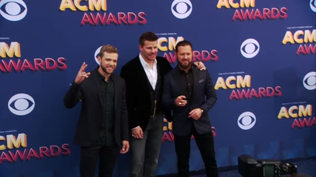 Max Thieriot David Boreanaz and A J Buckley at the 53rd Academy of Country Music Awards at MGM Grand Garden Arena on April 15 2018 in Las Vegas Nevada