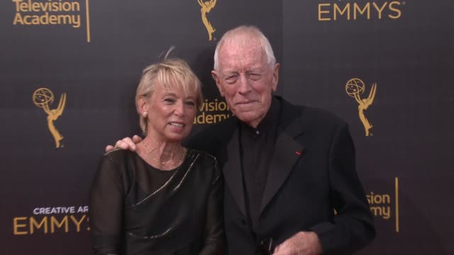Max von Sydow and Catherine von Sydow at the 2016 Creative Arts Emmy Awards Day 1 Arrivals at Microsoft Theater on September 10 2016 in Los Angeles...