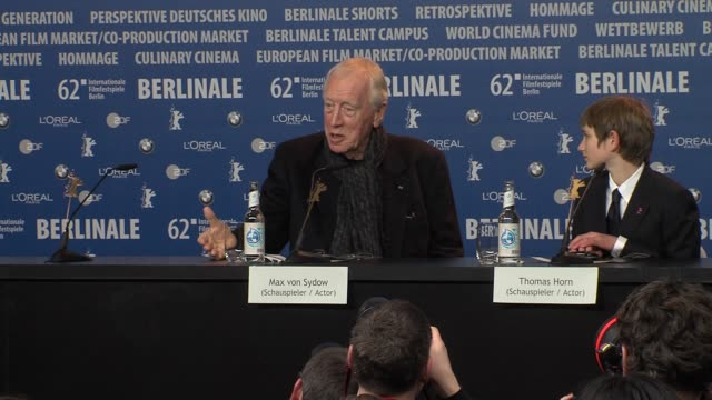 Max Von Sydow on playing someone with a disability at Extremely Loud And Incredibly Close Press Conference on February 10 2012 in Berlin Germany
