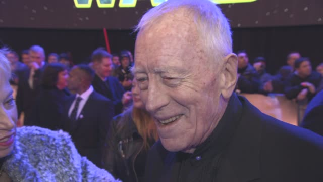 INTERVIEW Max Von Sydow on the atmosphere at the premiere at 'Star Wars Episode VII The Force Awakens' European Premiere on December 16 2015 in...