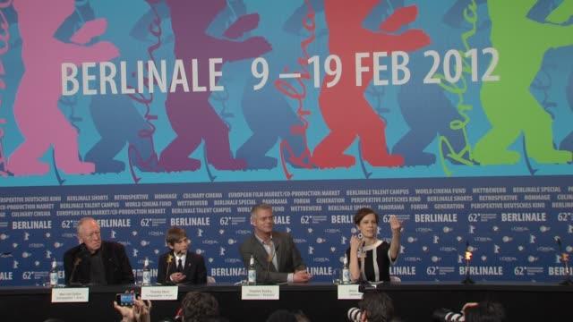 Max Von Sydow Thomas Horn Stephen Daldry at Extremely Loud And Incredibly Close Press Conference 62nd Berlinale International Film Festival on...