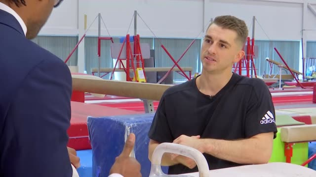 max whitlock on fatherhood and training for upcoming championships; england: essex: basildon: int max whitlock training on pommel horse tilt up... - basildon stock videos & royalty-free footage