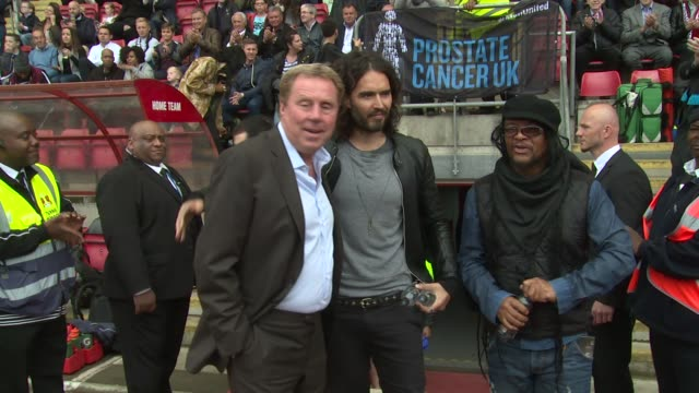 broll maxi priest russell brand harry redknapp at men united charity football match on 31st may 2015 in london england - charity benefit stock videos & royalty-free footage