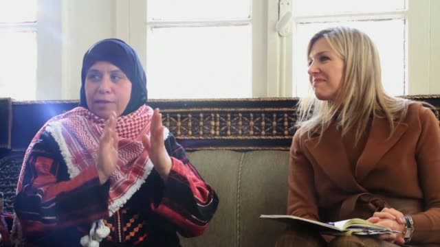 Maxima Queen of the Netherlands meets with international development partners and female Jordanian entrepreneurs in Salt Jordan as she pushes to...