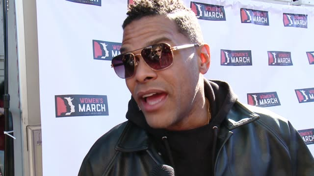 INTERVIEW Maxwell at 2018 Women's March Los Angeles on January 20 2018 in Los Angeles California