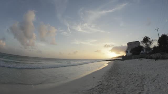 WS PAN FISH EYE Maxwell beach at sunset / Oistins, Christ Church, Barbados