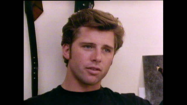 """maxwell caulfield comments on the lacklustre success of grease 2 and wishes it could have achieved """"half of the success of the original"""" 1987. - archival stock videos & royalty-free footage"""