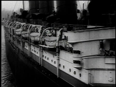 May 1 1915 MONTAGE Lusitania leaving the dock / New York New York United States