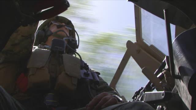 May 1 2009 MS LA American soldier inside humvee / Konar Valley Afghanistan
