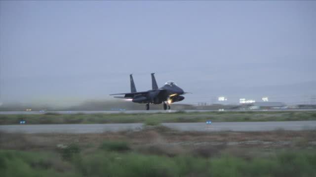 may 1, 2009 f15 fighter jet taking off / bagram, afghanistan - bagram stock videos & royalty-free footage