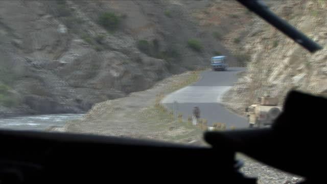 may 1 2009 ms pov humvee on road / panjshir valley afghanistan - panjshir valley stock videos and b-roll footage