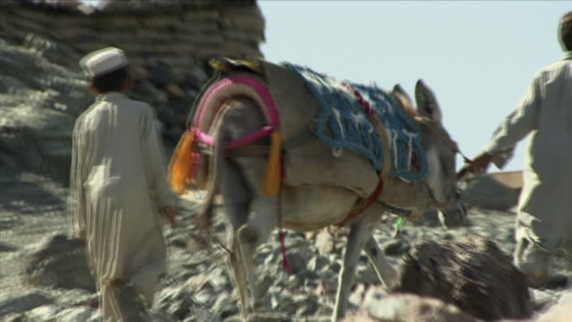May 1 2009 MS ZO WS Local children going along rocky path with donkey / Konar Valley Afghanistan