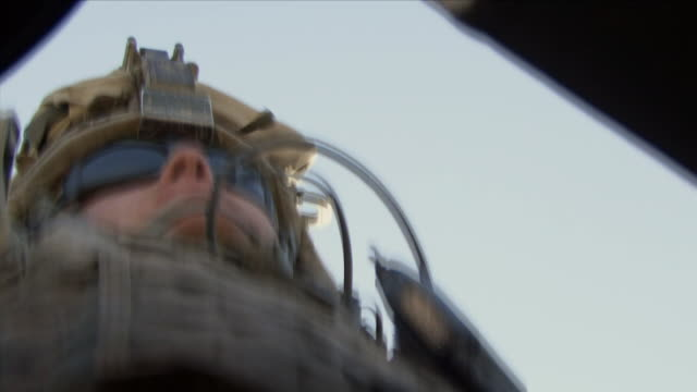may 1, 2009 shaky american soldier inside humvee / najil, afghanistan - portello video stock e b–roll