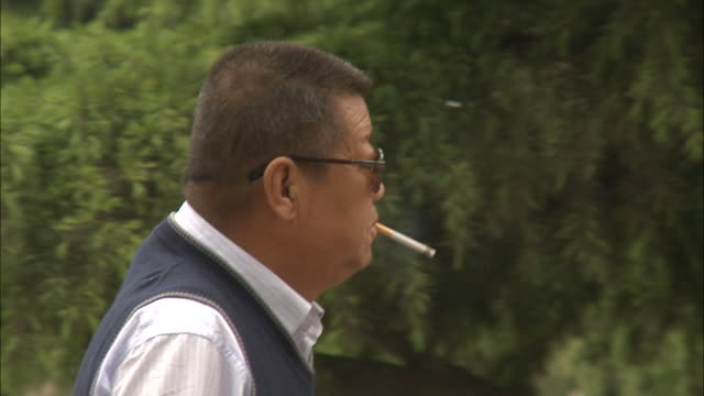 may 1 2010 ts a middleaged chinese man smoking a cigarette as he walks through the park / china - 悪い習慣点の映像素材/bロール