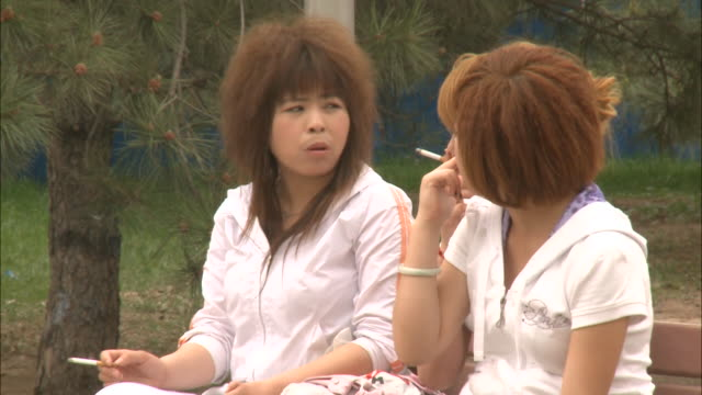 may 1 2010 ms three girlfriends sitting on a park bench smoking and talking / china - 悪い習慣点の映像素材/bロール