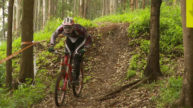may 11 2009 montage a professional downhill mountain bike racer making a face paced run through a wooded trail - mountain bike stock videos & royalty-free footage