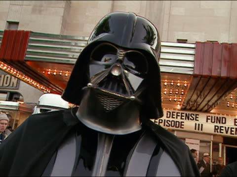 may 12, 2005 zoom in close up darth vader at premiere of star wars: episode 3 at uptown theater / wash d.c. - 2005 stock videos & royalty-free footage
