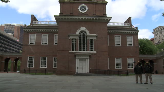 may 13 2010 montage independence hall on chestnut street / philadelphia pennsylvania united states - independence hall stock videos and b-roll footage