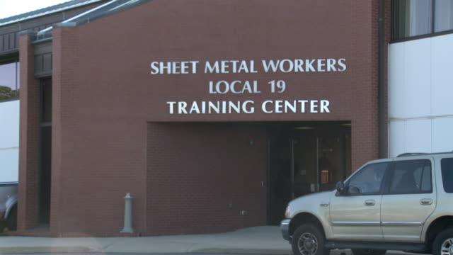 may 13 2010 zi sign for sheet metal workers local 19 training center building / philadelphia pennsylvania united states - sheet metal stock videos and b-roll footage