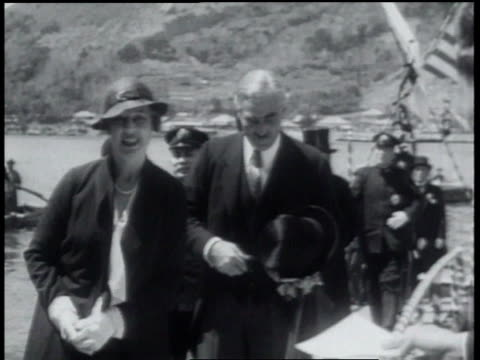 may 14, 1934 b/w children waving flags at american officials visiting japanese shrine / japan - 1934 stock videos & royalty-free footage