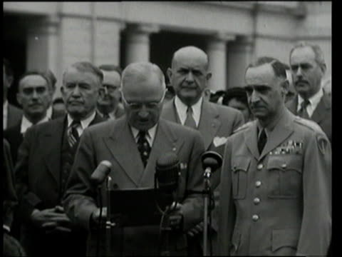stockvideo's en b-roll-footage met may 17 1949 ms president harry s truman presents plaque to lucius clay / washington dc united states - 1949
