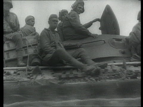 may 1945 montage b/w soviet tanks from the 1st ukrainian front moving towards prague/ prague, czech republic/ audio - prague stock videos & royalty-free footage