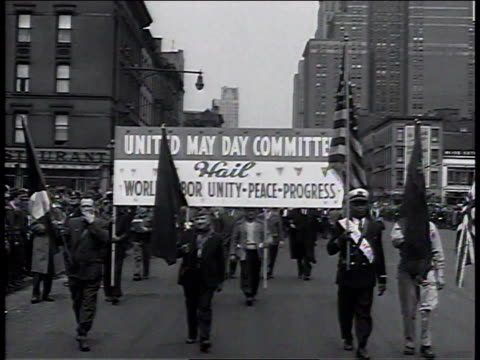 may 1950 people marching in may day parade / new york, new york, united states - socialism stock videos & royalty-free footage