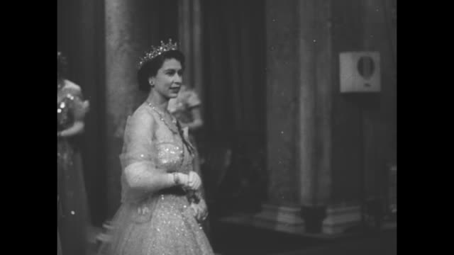 princess elizabeth and philip duke of edinburgh arrive at lancaster house reception for king frederick and queen ingrid of denmark princess marina... - elizabeth ii stock videos & royalty-free footage
