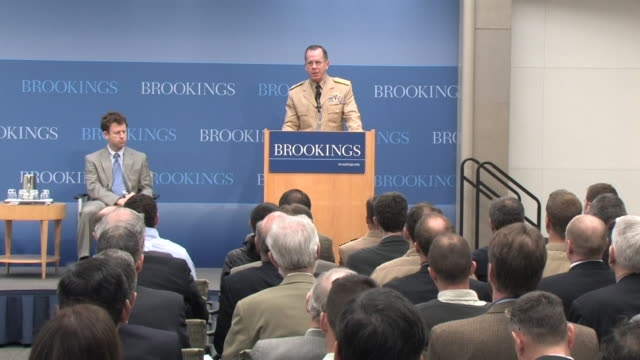 may 2009 ms pan zi zo chairman of the joint chiefs of staff admiral michael mullen beginning speech at the brookings institution/ washington dc usa/... - joint chiefs of staff stock videos and b-roll footage