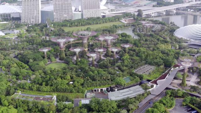 may 2019, singapore: 4k aerial view footage of singapore skyline, singapore - panoramic stock videos & royalty-free footage