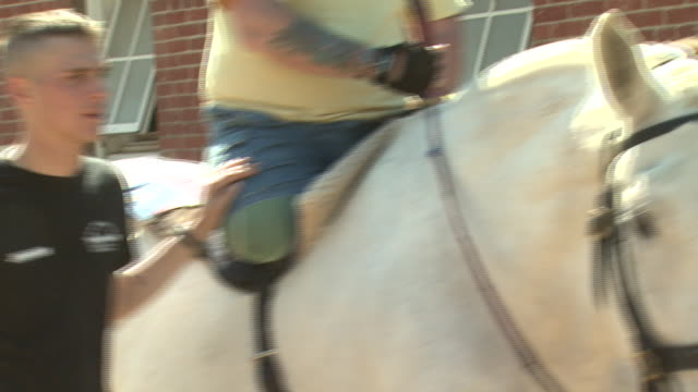 may 21 2009 ts amputee veteran on horseback receiving rehabilitation therapy at fort myer / arlington county virginia - fort myer stock videos and b-roll footage